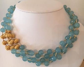 Light Blue Chalcedony and Gold Vermeil Necklace