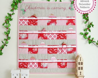 Pattern ~ Quilted Advent Calendar with 24 pockets PDF Pattern