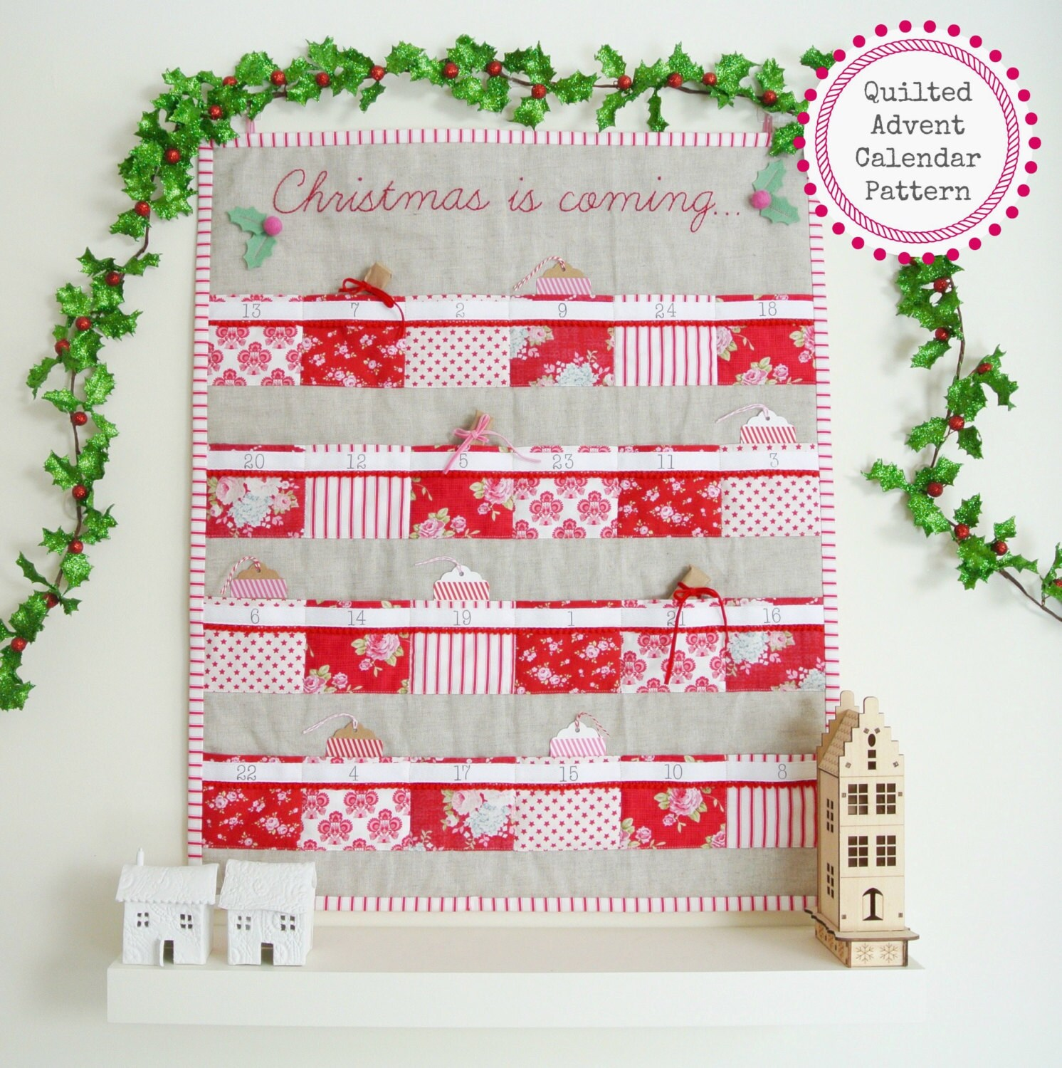 pattern quilted advent calendar with 24 pockets pdf pattern
