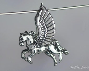 Sterling Silver Flying Winged Horse Pegasus CHARM or PENDANT 3D .925