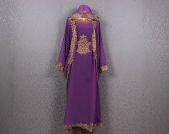 Fancy Gold Embroidery SMALLER size Bridesmaid Purple Hoodie Caftan Dress With Summer Party Kaftan Maxi Hooded Dress 4'10 - 5'2 Tall Women