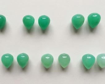 Natural Green Chrysoprase Half top drilled Acorn Drops 10x12 mm One Pair G7023