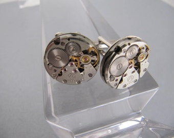 Cufflinks, Steampunk Jewelry, Gears, Men's cufflinks, Man, Wedding Party Gift, Groomsmen, Mens Gift, Watch Parts, Father's Day Gifts