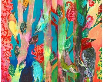Bird Abstract - i am one of many - Fine Art Print by Jenlo