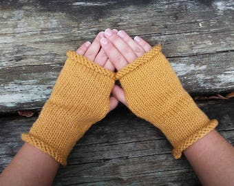 Womens Knit Mustard Fingerless Gloves, Hand Knit Gloves, Womens Gloves, Winter Accessories, Knit Fingerless Gloves, Arm Warmers