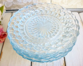 Blue Anchor Hocking Plates Set Of 6 Bubble Plates, Dessert Plates Something Blue Wedding Bread And Butter Plates Retro, Modern