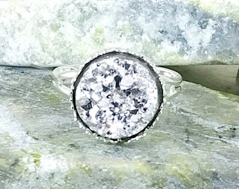 Silver Druzy Ring - Drusy Ring - Druzy Jewelry - Bridesmaid Gift - Silver Ring - Statement Ring - Silver - Druzy - Gift - Flower Girl Ring