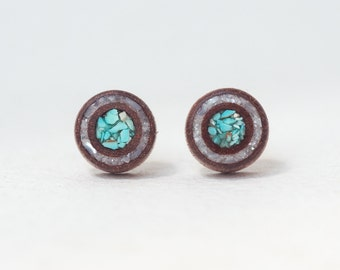Wooden stud earrings, mother-of-perl and turquoise  inlay, cherry mahogany, natural earrings, wood earrings, unique earrings, wooden jewelry