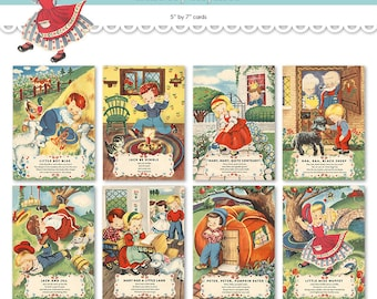 """Nursery rhyme cards / printable Mother Goose wall hangings  / eight 5"""" by 7"""" wall art digital prints / wall decor / flashcards"""