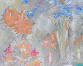 Original Painting Flowers Abstract Acrylic Large 24x36 Blue Pink Grey Contemporary Art Modern Artwork Canvas