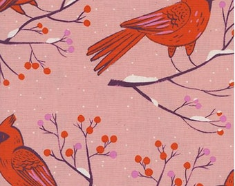 Cotton + Steel- Frost- Sarah Watts- Winter Cardinals in Pink