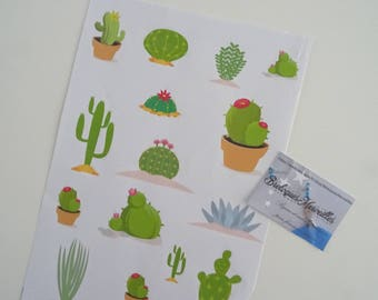 """Lot 2 stickers sheets for bujo 2018 Collection """"CACTUS"""""""
