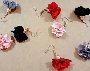 Red, pink, grey or balck flower/ tassel earrings (nickle free)