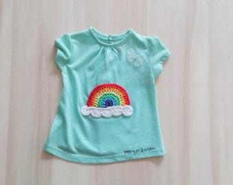 Green mint t-shirt, rainbow t-shirt, newborn t-shirt, baby t-shirt, customer tshirt, decorated tshirt. Rainbow items. Baby shower party gift