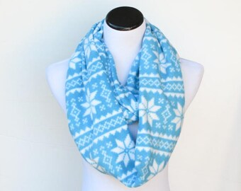 Fair isle infinity scarf blue warm winter fleece snood scandinavian scarf - LONG loop scarf - gift idea for her - gift for mom gift for girl