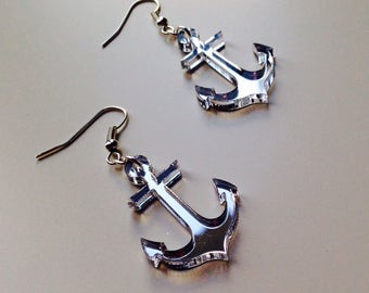 Anchor | Mermaid | Nautical | Retro | Mirrored | Silver | Laser Cut | Acrylic | Earrings