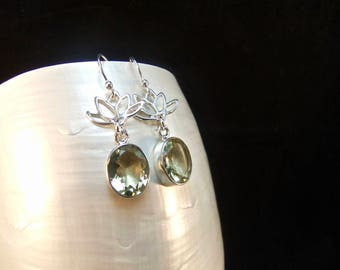Green Amethyst Gemstone Sterling Silver Drop Earrings