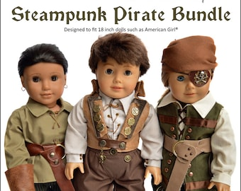 Steampunk Pirate Bundle Doll Clothes Pattern for 18 inch dolls - PDF