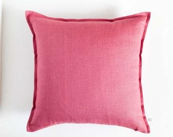 Dark pink throw pillows - raspberry pink pillow cover - dusty cedar pillow - natural linen decorative pillows - cushion case - accent pillow