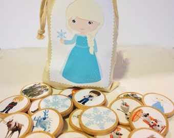 Frozen Inspired Memory Match, Frozen Game, Frozen Toy, Elsa and Anna, Wooden Memory Match, Montessori Toy, Waldorf Game, Personalized Toy