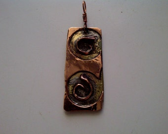 Copper Brass Spiral Pendant with Argent Silver solder