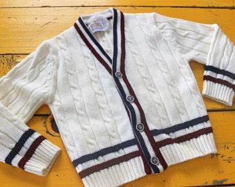 Vintage BOY Size 4T Off-White Preppy Cardigan, vintage boy sweater 4T, retro boy cardigan 4T, preppy vintage sweater 4T, vintage boy 4T