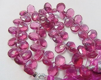 Gemstone Briolette Bead, Pink Red Hydro Quartz Faceted Pear Briolette. 7.5mm. 1 to 10 Briolettes. (55hq5)