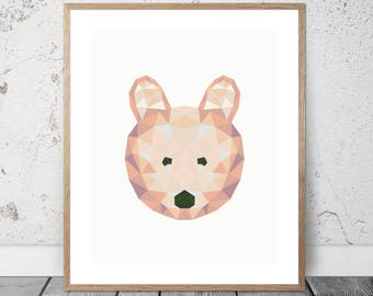 Baby Bear / Cub / Low Poly / Graphic / Download / Printable / Prints