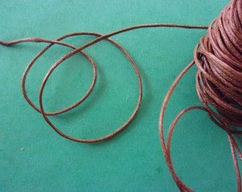 Brown waxed cord - diameter 1 mm