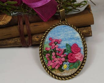 Necklace Kameeketten, necklace with pendant, pendant with hand embroidery, pendant with flower, gift for women, Ribbonwork,