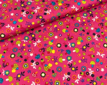 Cotton mushrooms and flowers on pink (8,50 EUR / meter)