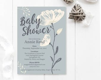 Shabby Chic Baby Shower Invitation, rustic baby shower invite, elegant baby shower invitation, floral baby shower invite, printable shower