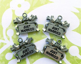 Just Married with Ribbon and Dove Charms ---4 pieces-(Antique Pewter Silver Finish)--style 785-