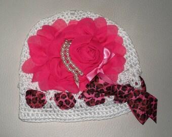 Toddler Infant White Crochet Hat, Pink Chiffon Flower Girls Hat, Childrens Accessories