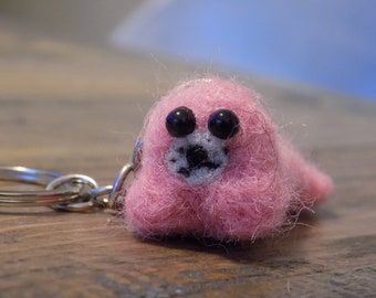 Keychain seal pink wool felted