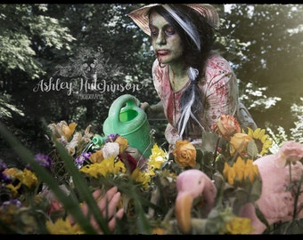 5x7 Signed Archival Print Zombie Girl Take Time To Smell The Roses Photography Photo Fine Art Macabre Horror Halloween flowers garden sunny