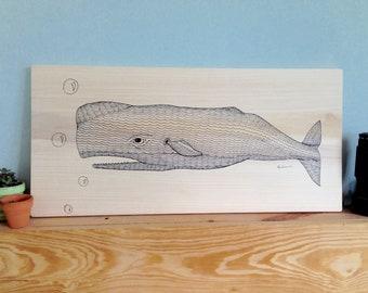 Whale Tale Original on Poplar Wood