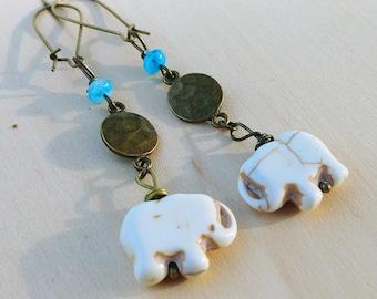 Elephant Disc Earrings