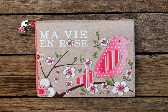 "Photo album natural linen featuring ""my vie en rose"""