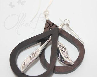 Tiger Ebony wood teardrops with suspended silver feather, Silver accents and Silver Plated Ear Hooks