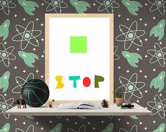 Nuresry digital Print, Instant downlod, Colorful Print, Nursery wall art, Printable kids art, Nursery decor, baby nursery art Stop art print