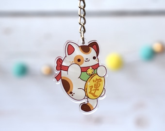 Kawaii Maneki Neko Lucky Cat Nugget Acrylic Charm Keychain