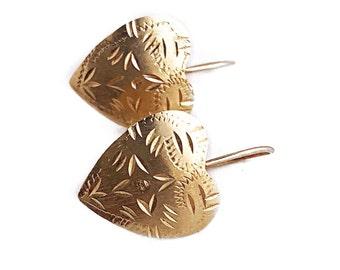 Vintage Heart Earrings - 14k Yellow Gold Etched Heart Drop Earrings