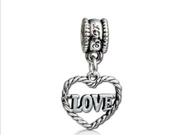 RJ Beads - European Big Hole Silver Heart LOVE Charm Bead - Free Shipping!!