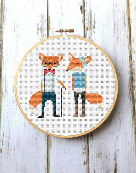Couple fox pdf cross stitch pattern design download forest