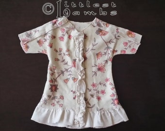 NICU Approved Ruffled Gown - Fanciful Flowers - Micro Preemie Clothes - Preemie Clothes