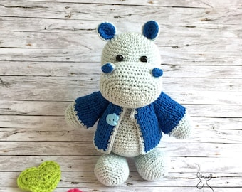 Handmade Hippo, Crochet Hippo, Amigurumi Hippo, Cotton Hippopotamus, Stuffed Hippo Toy, Baby Hippo Toy
