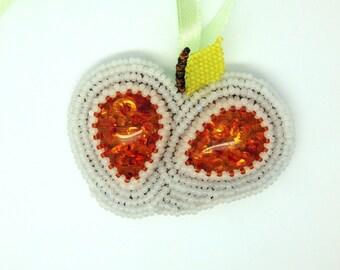 White Apple - Beaded necklace brooch - orange amber imitation, green leaf embroidered seed bead jewelry - handmade beadwork on satin ribbon