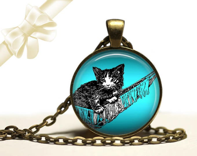 Kitten in Hammock Necklace brass Pendant Necklace Free Shipping Gifts for her