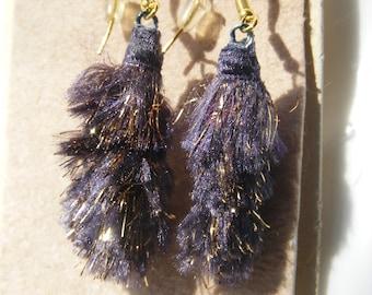 Earrings Lightweight nylon Fiber Beads with gold metallic bits two inch drop